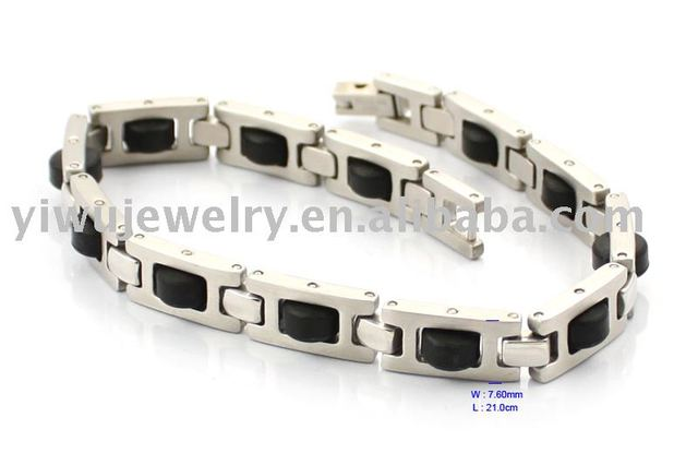 Free Shipping 1pcs/lot S.S316L stainless steel jwelry men black Silicone bracelet