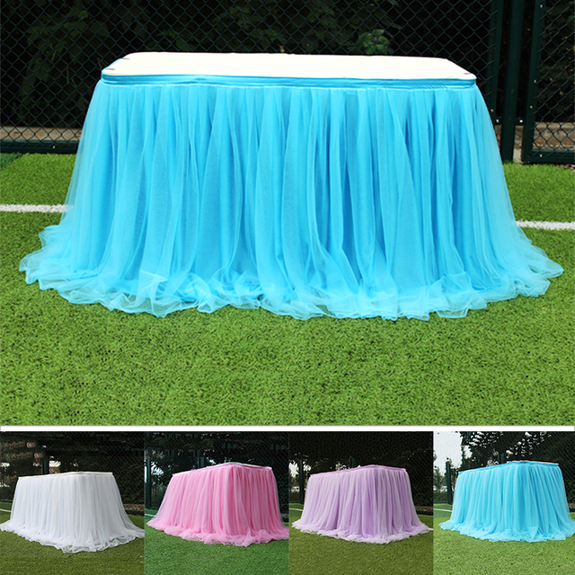 Wedding Table Skirt  Handmade Tulle  Gauze Elegant Tablecloth for Party Wedding Home Decor Birthday Party Baby Shower Bridal