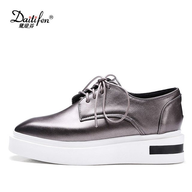 Daitifen Rome women Flat Platform shoes Big size 34-43 fashion Lace-up Square toe flats comfortable ladies Casual Walking shoes