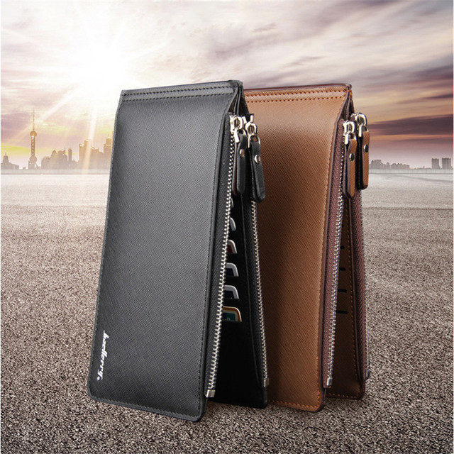 Men's Business Style Leather Card Holder Billfold Purse Long Wallet Purse Male Original Leather Billetera para hombres billetera
