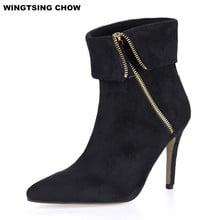 Plus Size Black Ankle Boots Women High Heel Side Zipper Pointed Toe Women Boots Fashion Leather Boots Autumn Winter Shoes Woman