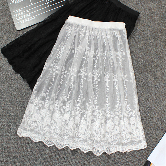 Women Sexy Floral Embroidery Lace Mesh Skirt Summer Boho Casual Vintage High Waist Skirts Hollow Out Transparent One Layer Skirt