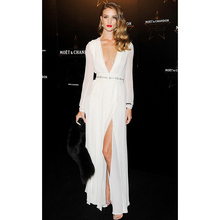Sexy V-Neck Long Sleeve Celebrity Dresses 2018 White A-Line Chiffon Party Gown Red Carpet Dresses robe de soiree Z544