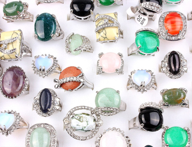 Wholesale Bulk 10Pcs Colourful Mix Style Natural Gem stone Silver Plated Crystal Rings Mens Band Wedding Engagement Rings FREE