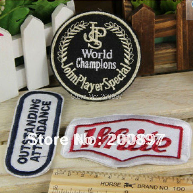 Custom iron on embroidery patch fabric embroidered brand name applique badge 200pcs /lot