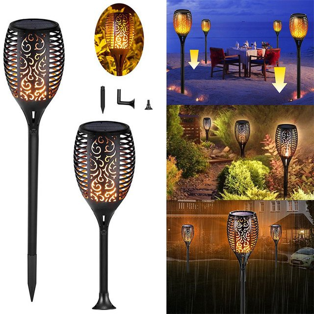 Lawn Light Flame Light Solar Sensor Torch LED Spot Lamp Pathway Yard Garden Security Light Flickering Home With Hollow lampshade