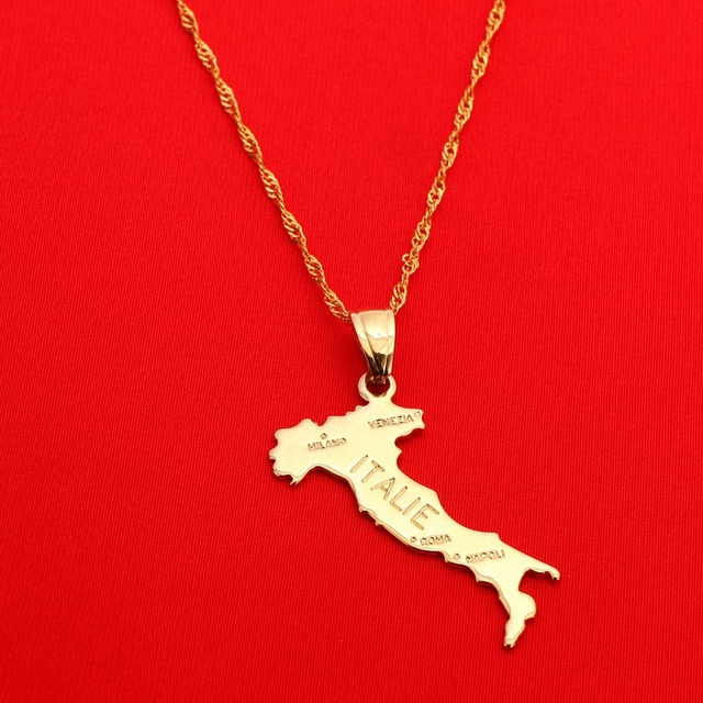 Map Of Italie Pendant Chain Italy Jewelry For Women Girl Gold Color Jewelry Italian Italia Map Jewelry