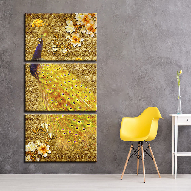 Canvas HD Prints Painting Wall Art 3 Pieces Golden Peacock And Magnolia Poster Flowers Pictures Modular Living Room Decor Frame