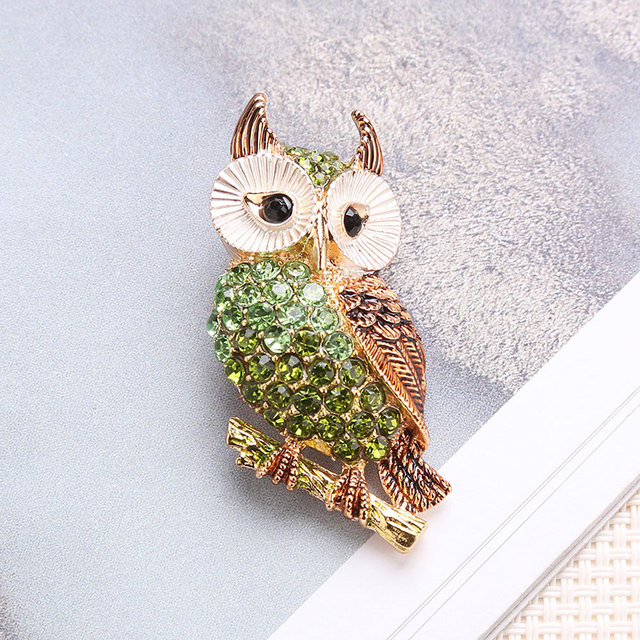Owl brooch Fashion Breastpin Brooch Pins Crystal Pins Cloth Accessories Neutral Fashion Lovely Alloy 3 Colors Simple Owl Banquet
