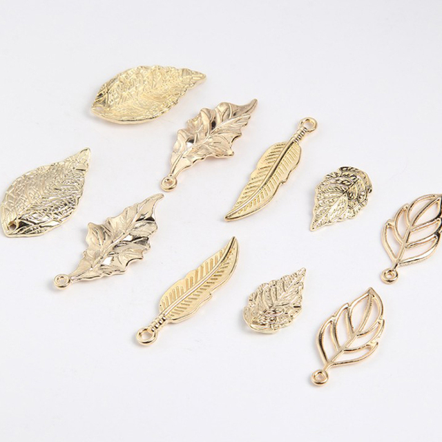 Wholesale Women 15pcs/pack Vintage mixed Tree Leaf Necklace Pendant Connector Jewelry Findings branches Charms Accessories