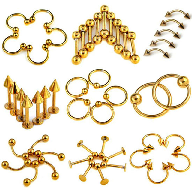 Chic 90X wholesale Piercing jewelry 316L surgical stainless steel Eyebrow belly body jewelry Titanium Piercing Ring Bulks