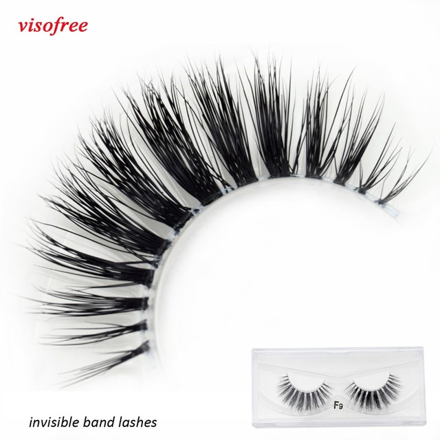 Visofree Mink Eyelashes Clear Band Eye Lashes Crisscross Transparent Band False Eyelashes Handmade Dramatic Lashes Upper Lash F9