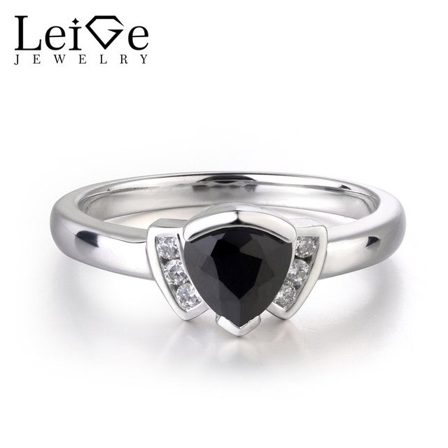 LeiGe Jewelry Black Color Gemstone Natural Black Spinel Ring Anniversary Gifts Fine Jewelry For Her Bezel Setting Trillion Cut