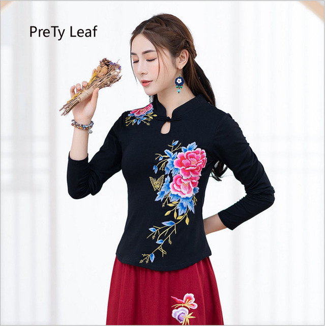 2019 early spring new embroidered slim cotton collar long-sleeved t-shirt female