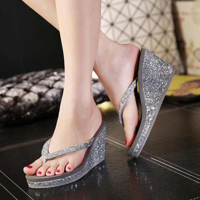 Fashion Summer Beach Women Platform Flip Flops Med Wedges Outdoor Slippers Print Casual Bling Ladies Shoes