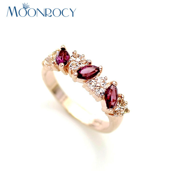 MOONROCY Drop Shipping Cubic Zirconia fashion jewelry wholesale rose Gold Color Crystal Rings Fashion wedding Ring gift women