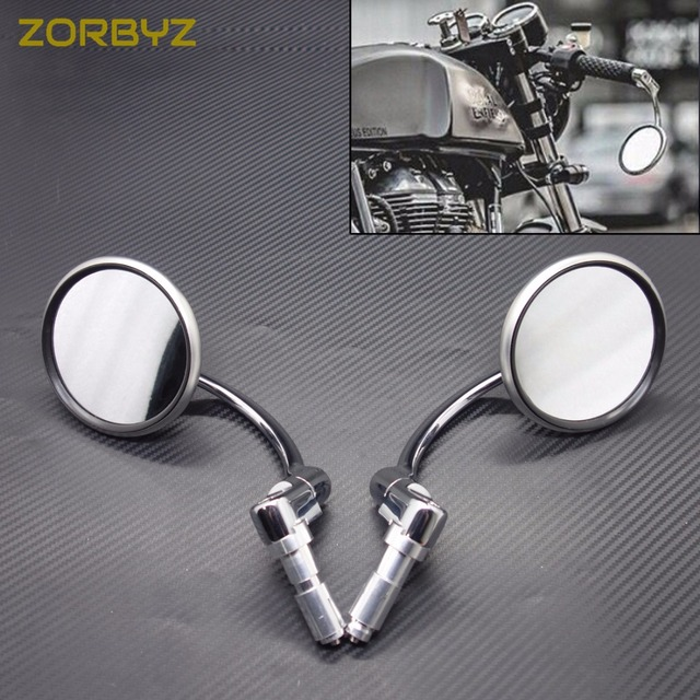 """ZORBYZ Motorcycle Round Mirrors Silver Metal 7/8"""" 22mm Handle Bar End Side Rearview Mirror For Honda Suzuki Cafe Racer Custom"""