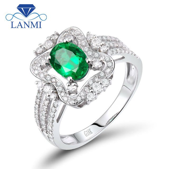 New Design Oval 5x7mm Natural Emerald Diamond Ring 18K White Gold For Women Engagement Gemstone Jewelry SR0328