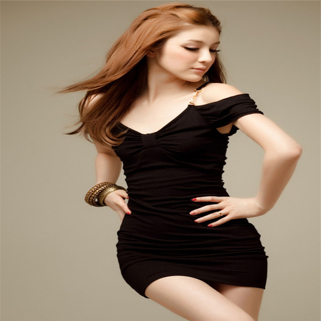 New Sexy Club Dress 2016 Solid Black O-Neck Short Sleeve Off The Shoulder Party Dress Summer Style Slimming Women Dress 1287