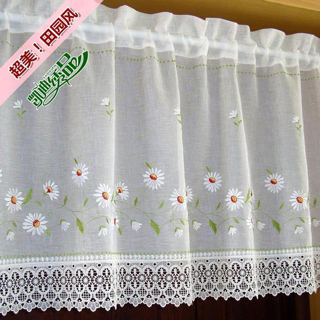 Nice Curtains Quality finished product embroidery coffee kitchen short cabinet door curtain cortinas for window