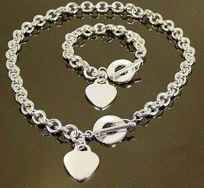 wholesale silver plated heart necklace & bracelet set,fashion women /men necklace + bracelet set,hot sell men's jewelry