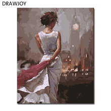 New Frameless Pictures Painting By Numbers Hand Painted Oil On Canvas Wall Decor For Living Room Beauty Lady Wall Sticker GX8101