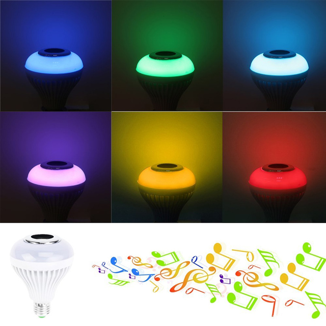 Colorful Light Wireless 12W LED E27 Bluetooth 4.0 Lamp Audio KTV Bar RC Music Playing Gift Loudspeaker night light Decor lamp