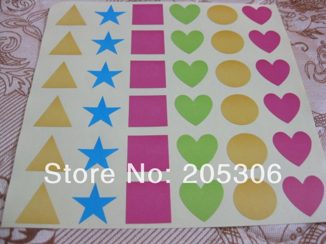 50sheets/lot Colorful shapes, triangle, pentagon, square, heart, circle paper label sticker, Item No.OF07