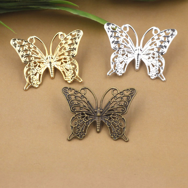 25x35mm Blank Brooch Bases Flat Vintage Filigree Butterfly Brooches Pins Back Settings Safety-pin DIY Findings Multi-color