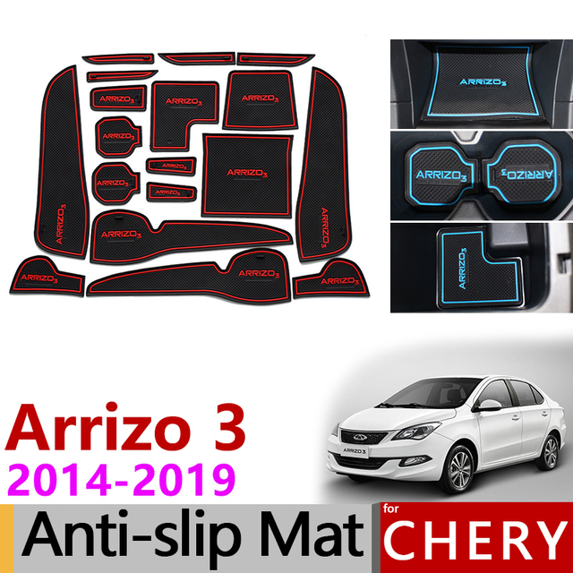 Anti-Slip Gate Slot Mat Rubber Coaster for Chery Arrizo 3 2014 2015 2016 2017 2018 2019 Accessories Car Stickers Car Styling