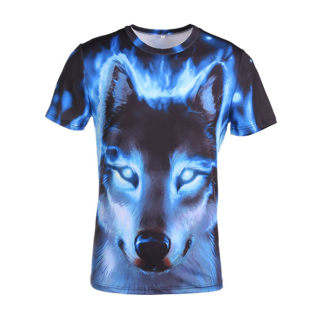 Glow in the Dark T-shirts Novelty 3D wolf Men t-shirt Cool wolf Printed tshirts summer Short Sleeve 2019 High Quality Punk