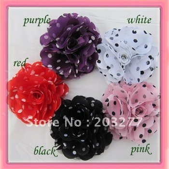 Wholesale - 5 colors for your choose 24pcs/lot  3'' polka dots Satin mesh silk flowers without hair clip  FreeShipping