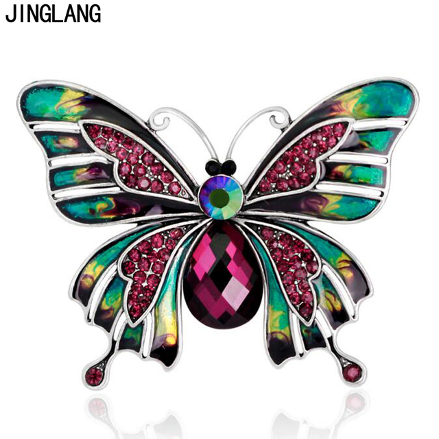 JINGLANG Animal Metal Brooches Pins Pink White Rhinestone Butterfly Brooches For Women Suit Clothes Decoration Jewelry