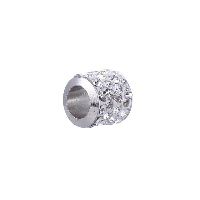 50pcs/lot Rhinestone Crystal Ball Beads Silver Color Big Hole Spacer Beads For DIY Jewelry Making