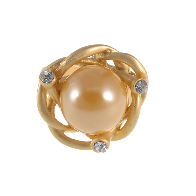 Gold Pearl Flower Ring for Women Jewelry Oversize Simulated Pearl Pendant Rings Jewelry for Wedding / Anniversary Gift , RN-459