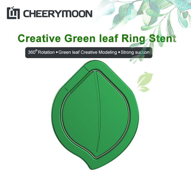 CHEERYMOON Leaf Watch Series Ring Holder Universal Mobile Phone Magnetic Metal Finger Grip Stand For IPhone Huawei