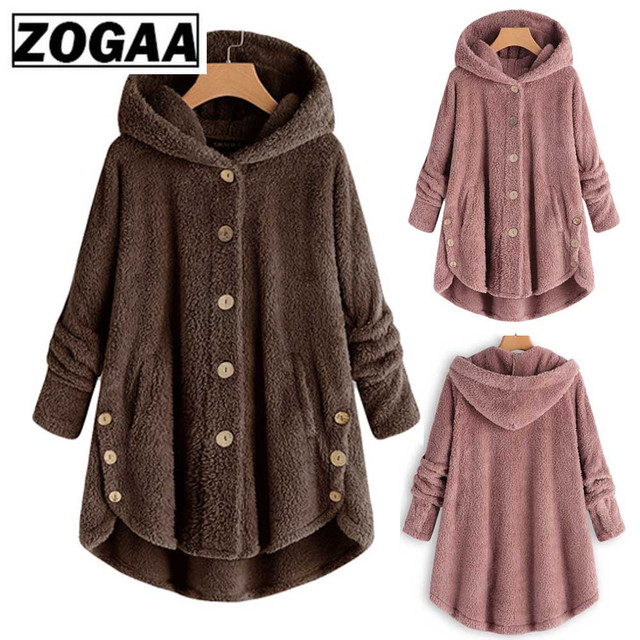 Hot Winter Plus Size S-5XL Women Button Coat Fluffy Tail Tops Hooded Pullover Loose Oversize Coats Warm Outwear For women Jacket