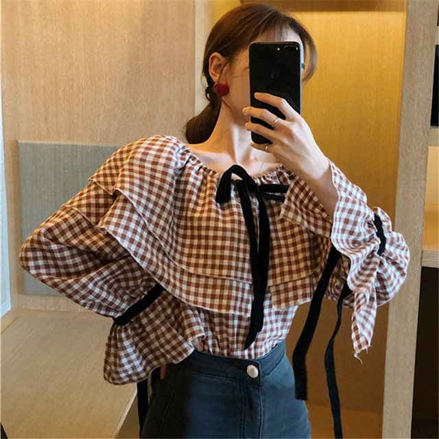 Lychee Girls Sexy Plaid Bow Women Blouses Shirts Flare Long Sleeve Off Shoulder Female Blouses Spring Autumn Shirts