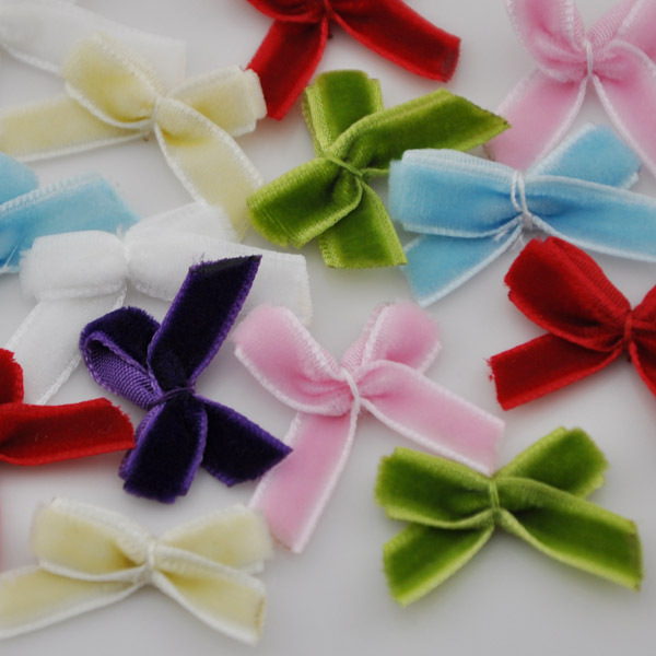 60pcs Lots Velvet Ribbon Flowers Bowknots Sewing Craft Appliques Free Shipping B31