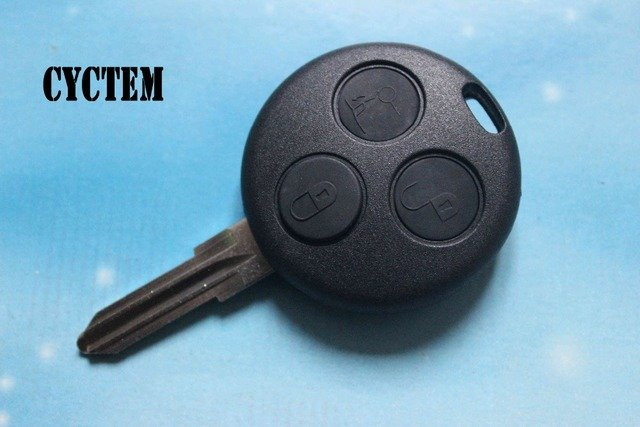 CYCTEM Car Key Cover Housing 3 Buttons Remote Key Shell Fob Case Replacement Fit For Mercedes Benz Smart No Logo