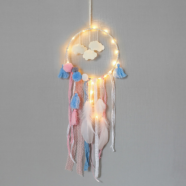 Lovely Gleamy Dreamcatcher Cloud Innovative Gifts Interior Decoration Wind Chimes Dream Catcher Hanging With Light