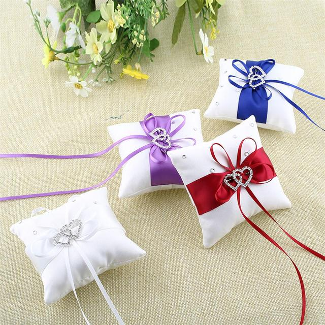 Satin Polyester Belt Vintage Ring Bearer Pillow for Accessories Ring for Pearls Rhinestone Ring Pillows for Wedding Bowknot