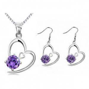 New 2014 Wholesale Crystal Jewelry Cubic Zirconia Pendants Necklaces Jewelry Sets Dangle Earring Silver Plated For Women
