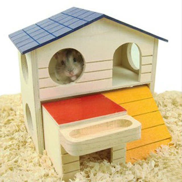 Lovely Double Layer Room Wooden Small Animal Hamster Sleeping House Nest