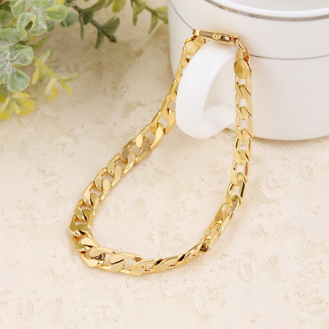 Bangrui Bracelet Men Jewelry Wholesale Trendy Gold filled  21CM Thick Cuban Link Chain Bracelets