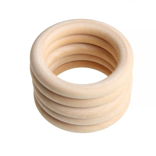 5pcs 70mm Baby Wooden Teething Rings Necklace Bracelet DIY Crafts Natural New