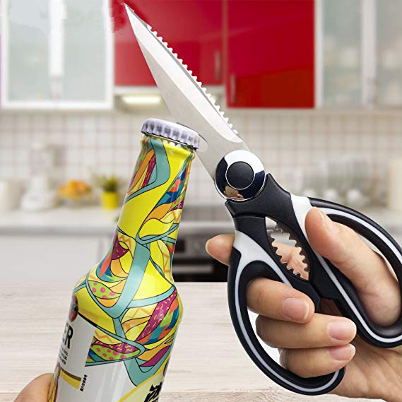 Stainless Steel Kitchen Scissors for Chicken Poultry Fish Meat Vegetables Herbs BBQ's Potato Cheese Beer Can Walnut Tool