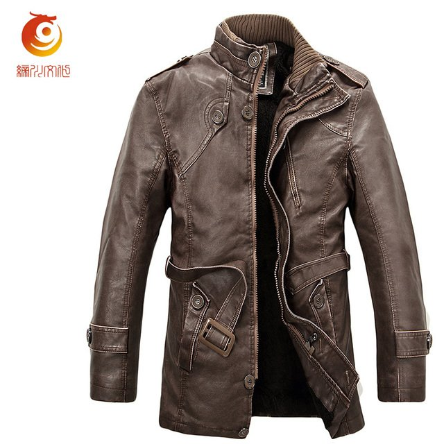 Leather Jacket Men Fashion Stand Collar Zipper Motorcycle Leather Jacket Thick Black Long PU Leather Coat Chaqueta Moto Cuero