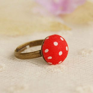 Girls Red White Dots Printed Ring Bronzed Adjustable Women Fashion Costume Jewelry Fabric JZ018