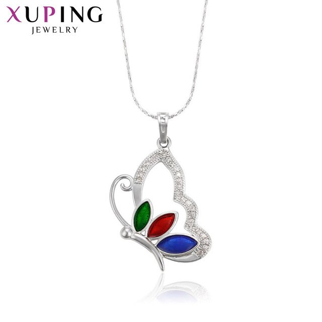 Xuping Fashion Elegant Butterfly Pattern Pendant Rhodium Color Plated Jewelry for Women Mother's Day Gift M37-30110